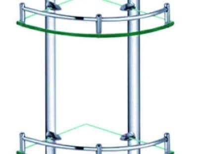 Полка стеклянная угловая, двойная, хромированная, латунная Savol S-003021