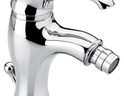 Смеситель Tiffany с донным клапаном для биде, цвет белый-хром 6004BC
