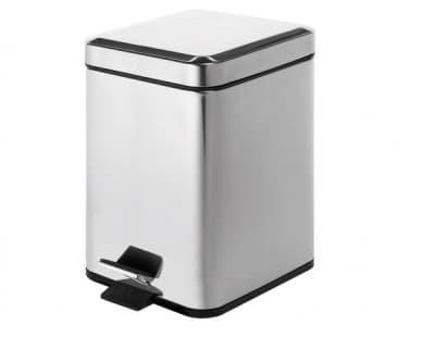 Gedy G-Argenta, квадратный контейнер для мусора с педалью - 5 литра, цвет хром 2309(13)