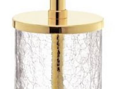 Surya Crystal, напольный ёршик для унитаза с крышкой на широком метал. основ., цвет золото - прозрачное стекло 6604/GO-OPG