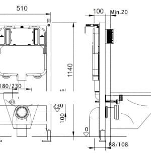 Инсталляция для подвесного унитаза AQUANIKA BASIC SLIM 10.702.510.021.81