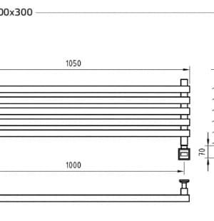 Электрический полотенцесушитель с функцией быстрой сушки скрытое подключение ArtofSpace Cube Horizontal EACEH1000300ChromeRS