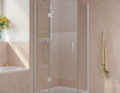 Душевой уголок Vegas-Glass AFA-Pen Lux 0100 профиль белый стекло прозрачное R