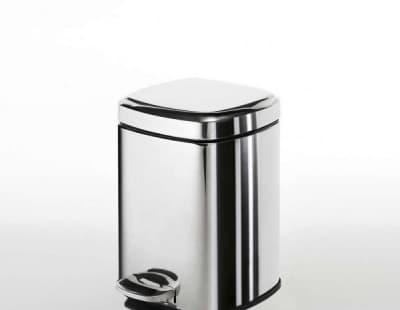 Gedy G-Argenta, квадратный контейнер для мусора с педалью - 3 литра, цвет хром 2209(13)