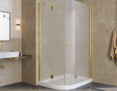 Душевой уголок Vegas-Glass AFS-F lux 12*110 профиль золото стекло сатин R