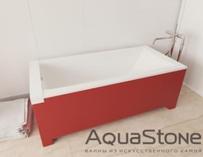 Ванна из литьевого мрамора Aquastone Квадро 180x80 красная прямоугольная 180