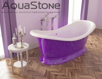 Ванна из литьевого мрамора Aquastone Лиона 193x86 фиолетовая овальная 193