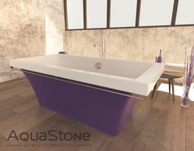 Ванна из литьевого мрамора Aquastone Мадрид 180x80 фиолетовая прямоугольная 180