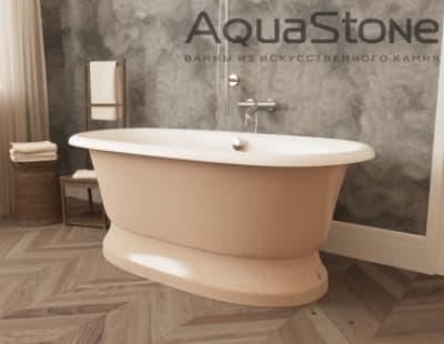 Ванна из литьевого мрамора Aquastone Оливия на подиуме 180x90 бежевая овальная 180