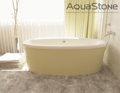 Ванна из литьевого мрамора Aquastone Оливия с экраном 180x90 зеленая овальная 180