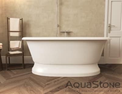 Ванна из литьевого мрамора Aquastone Оливия на подиуме 180x90 овальная 180