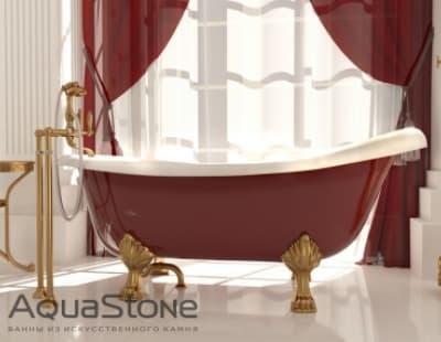 Ванна из литьевого мрамора Aquastone Скарлет 170x64,5-82,7 ножки белые бордовая овальная 170