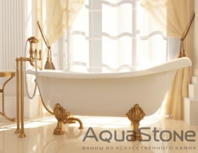 Ванна из литьевого мрамора Aquastone Скарлет 170x64,5-82,7 ножки белые овальная 170