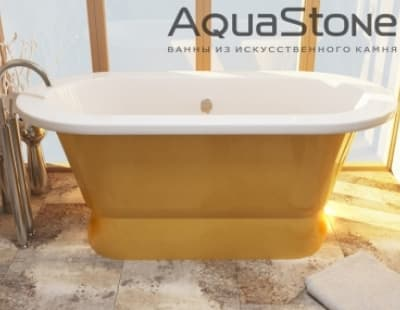 Ванна из литьевого мрамора Aquastone Венеция 175x80 желтая овальная 175