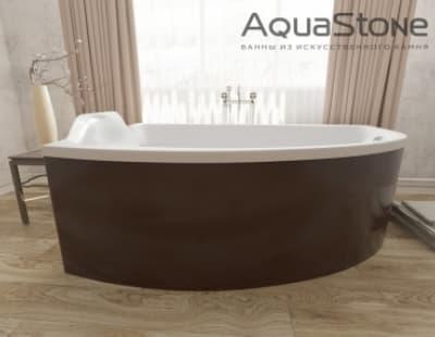 Ванна из литьевого мрамора Aquastone Верона 177x123 черная асимметричная 177