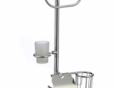 многофункциональная стойка Savol напольная черный квадрат стеклянный (фен, кольцо для полотенца, стакан стеклянный, бумагодержатель с освежителем) S-00B03