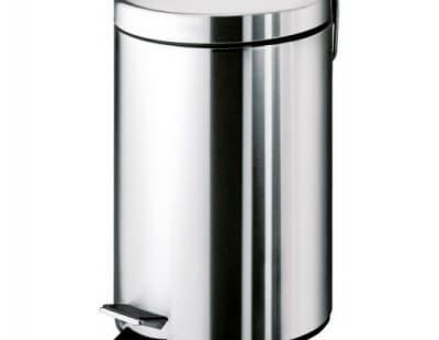 Gedy G-Argenta, круглый контейнер для мусора с педалью - 3 литра, цвет хром 2609(13)