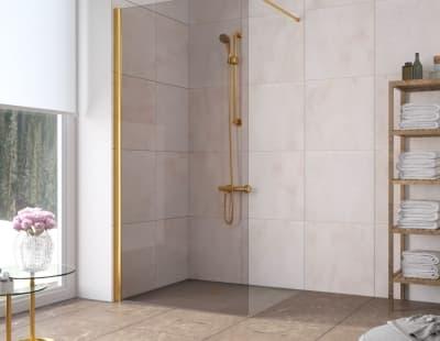 Душевая перегородка Vegas-Glass EAF Lux 96 профиль золото стекло бронза