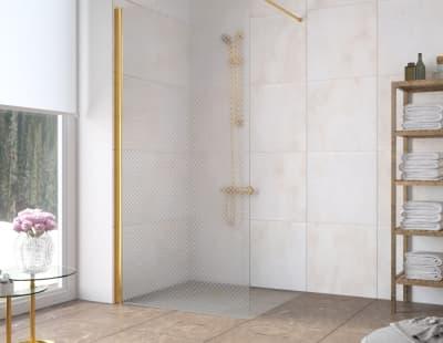 Душевая перегородка Vegas-Glass EAF Lux 96 профиль золото стекло ретро