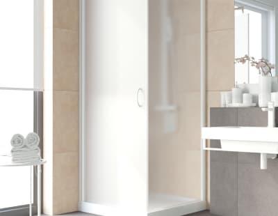 Душевой уголок Vegas-Glass EP-Fis Lux 0080 профиль белый стекло сатин R