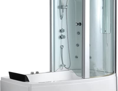 С гидромассажем акриловая ванна Gemy G8040 B R 170 асимметричная 170x85