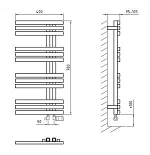 Полотенцесушитель ArtofSpace Quadro Slim WAQOS400780Inox (левое и правое исполнение)