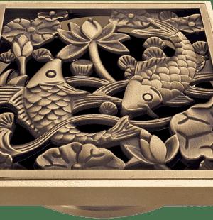 Бронзовые решетки Рыбы к трапам Viega 100x100