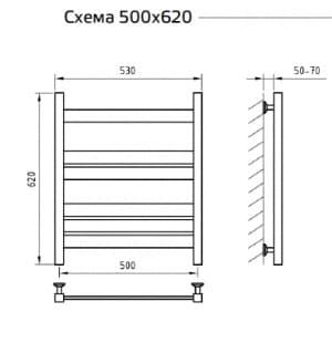 Электрический полотенцесушитель с функцией быстрой сушки скрытое подключение ArtofSpace Simplex EASX500620ChromeRS