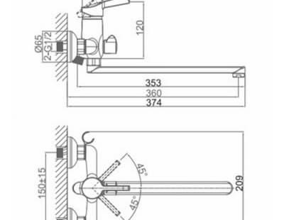 Смеситель для ванны D&K Rhein Schiller (DA1463301)